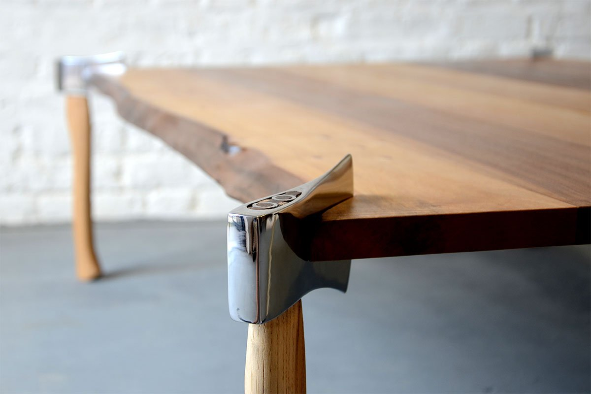 Woodsman axe table duffy london for Table leg design ideas