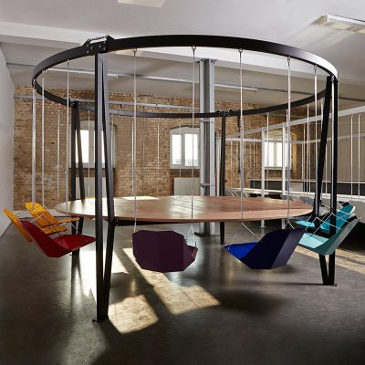 king arthur round swing table with coloured seats